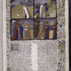 Opening of Book VI with miniatures showing events in the life of Joshua, border design, coats of arms, rubric, large initiala, pale yellow placemarkers.