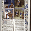 Opening of Book VII, with miniatures showing events in life of Oedipus, rubric, initial, border, coats of arms.