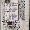 Opening page of calendar, with border design and miniature.  Written in French.  Initials.