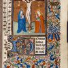 Opening of main text, with large initial and border design.  Miniature of crucifixion with gold tendril background.