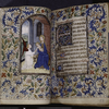 Miniature of Virgin and Child and text with initials and rubrics, borders.