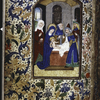Full page miniature of the circumcision, with floreate border.