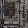 Text with large historiated initial, small initials, border design with grotesque, rubric.