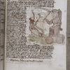 Opening of Julius Firmicus Maternus' 'Matheseos Libri VIII.'  Initial, placemarkers, and colored drawing