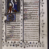 Opening of text (added late 14th century, according to Delisle) with miniature, initials, border design, rubrics.
