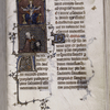 Opening of another part of text added late 14th century, according to Delisle.  Miniatures, initials, rubric, linefiller, placemarker.