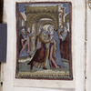 "Meeting of Joachim and Anna, inscribed ""DANNAE CONCEPTIO SUB AUREA PORTA"""