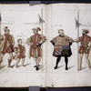Drawings of men in various costumes.