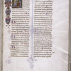 Opening of main text, historiated initial and painted border, initials with penwork (including human figure; rubrics.