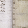 Strips of vellum beneath back pasteboard.  In Greek?