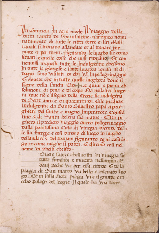 Opening of text, with rubric and space left for initial.