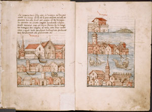 Text with illustrations of Venice, rubrics.
