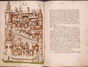 Full-page illustration of Cairo, with text, rubrics, and spaces left for initials.