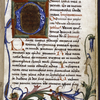 Opening of text, large decorated initial, floral border, rubrics, smaller initials, placemarkers.