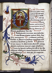 Historiated initial (God holding the crucified Christ), floral border, rubrics, initials, placemarkers.
