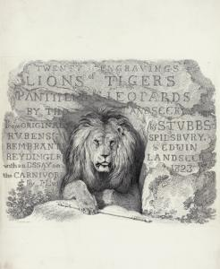 Engravings of lions, tigers, panthers, leopards, dogs, &c., chiefly after the designs of Sir Edwin Landseer, by his brother, Thomas Landseer. Printed from the original plates, pub. between 1823 and 1828.