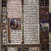 Opening of main text. Elaborate border design with coat of arms and a rabbit. Historiated initial of God creating the world.