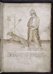 "Drawing of a pope and a wolf, with later identification added in upper margin, ""Magister tomasius de sarzana deinde nicholaus papa [quintus ?]."""