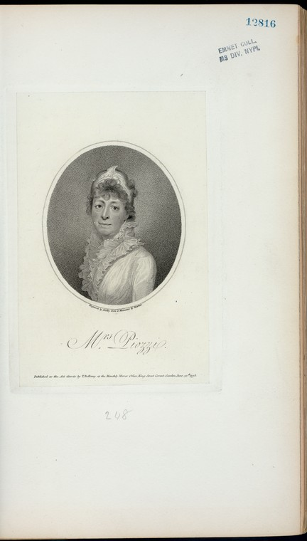 Fascinating Historical Picture of Hester Lynch Piozzi in 1798