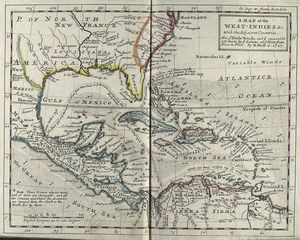 A map of the West-Indies &c. with the adjacent countries : also ye trade winds, and ye several tracts made by ye galeons and flota from place to place / by H. Moll, g., 1727.