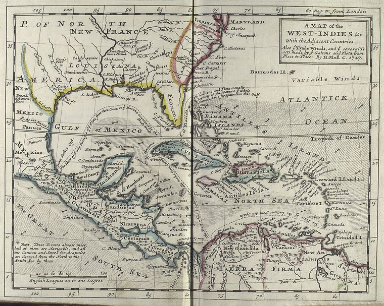 This is What Herman Moll and West-Indies Looked Like  in 1727