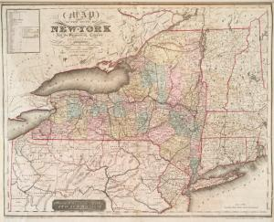 Map of the state of New-York and the surrounding country / by David H. Burr ; engd. by Rawdon, Clark & Co., Albany, & Rawdon, Wright & Co., New York.