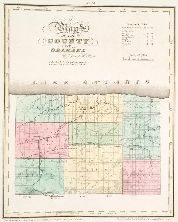 Map of the county of Orleans / by David H. Burr ; engd. by Rawdon, Clark & Co., Albany, & Rawdon, Wright & Co., N. York.