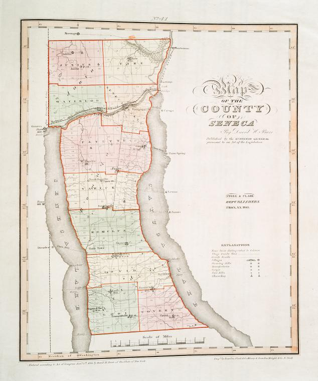 Map of the county of Seneca / by David H. Burr ; engd. by Rawdon Clark & Co., Albany, & Rawdon, Wright & Co., N. York.