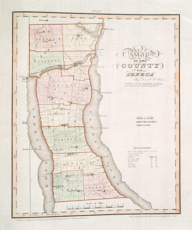 Map of the county of Seneca / by David H. Burr ; engd. by Rawdon Clark & Co., Albany, & Rawdon, Wright & Co., N. York.