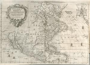 A new mapp of America Septentrionale / designed by Mousieur Sanson, geographer to the French king, and rendred into English and illustrated by Richard Blome ; Francis Lamb, sculp.