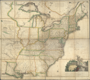 A map of the United States and British provinces of Upper and Lower Canada with other parts adjacent / by Shelton & Kensett ; A. Doolittle and T. Kensett sculp. ; projected by Thomas Kensett.