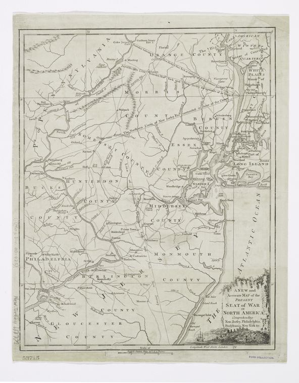 A New and accurate map of the present seat of war in North America : comprehending New Jersey, Philadelphia, Pensylvania, New-York, &c.