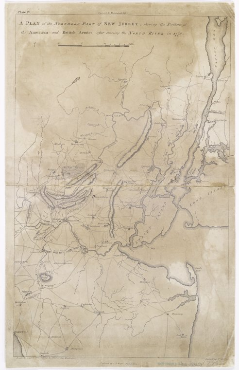 A plan of the northern part of New Jersey : shewing the positions of the American and British armies after crossing the North River in 1776 / drawn by S. Lewis from surveys by order of Gen. Washington ; engrav'd by Fs. Shallus.