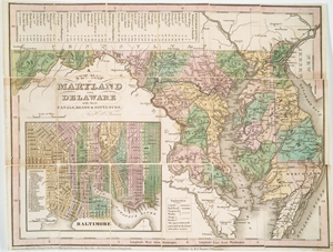 A new map of Maryland and Delaware : with their canals, roads & distances / by H.S. Tanner ; E. Gillingham, sc.