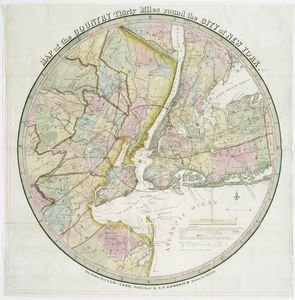 Map of the country thirty miles round the city of New York / drawn by I.H. Eddy.