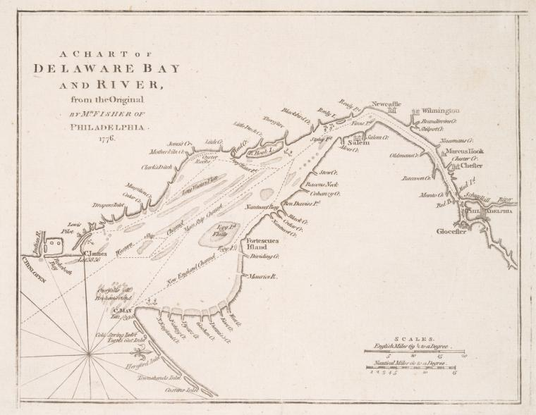 This is What Joshua Fisher and A chart of Delaware Bay and River : containing a full and exact description of the shores creeks harbours soundings shoals sands and bearings of the most considerable land marks &c. &c Looked Like  on 7/10/1776