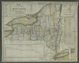 Map of the State of New York : with the latest improvements / by Wm. Hooker.