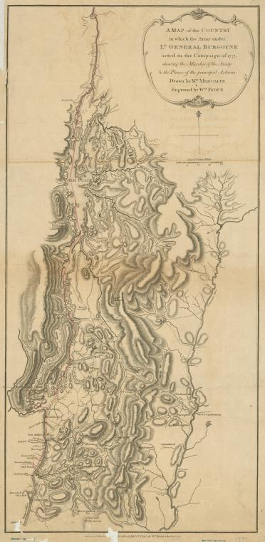 This is What William Faden and A map of the country in which the army under Lt. General Burgoyne acted in the campaign of 1777 : shewing the marches of the army & the places of the principal actions Looked Like  on 2/1/1780