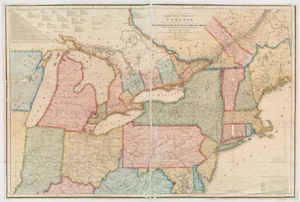New travelling and commercial map of the Canadas : from the Sault of St. Marie to the river Saguenay, and a large section of the United States of America / compiled from the latest surveys and most approved authorities ... by his obliged obedient humble servant David Taylor, R.N., March 1834 ; engraved by S. Stiles & Co.