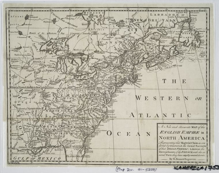 A new and accurate map of the English empire in North America : representing their rightful claim as confirm'd by charters, and the formal surrender of their Indian friends ; likewise the encroachments of the French, with the several forts they have unjustly erected therein