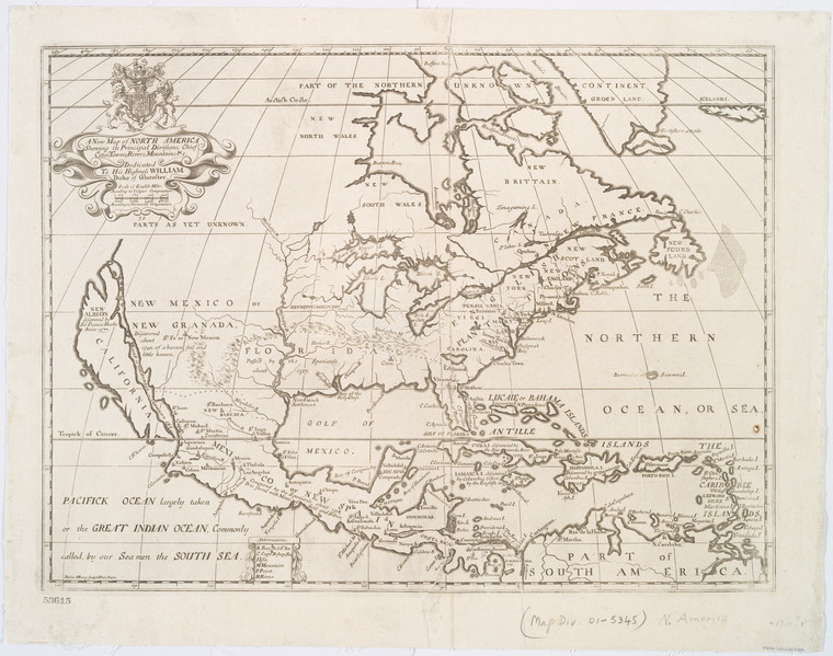 A new map of North America shewing its principal divisions, chief cities, townes, rivers, mountains &c.