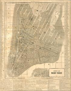 Map of Lower Manhattan from approximately 1850
