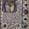 Opening of text in hand 2, historiated initial (Christ in Limbo), border design, initials, rubrics, placemarkers.