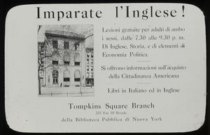 Posters, Italian : English classes at Tompkins Square, Oct. 1920.