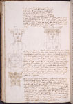 Text with drawings of architectural and human forms.