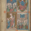 Full-page miniature with four scenes:  Pentecost; Christ enthroned; Doubting Thomas; Ascension.