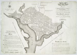 Plan of the city of Washington in the territory of Columbia : ceded by the states of Virginia and Maryland to the United States of America, and by them established as the seat of their government, after the year MDCCC / engrav'd by Thackara & Vallance, Philad'a 1792.