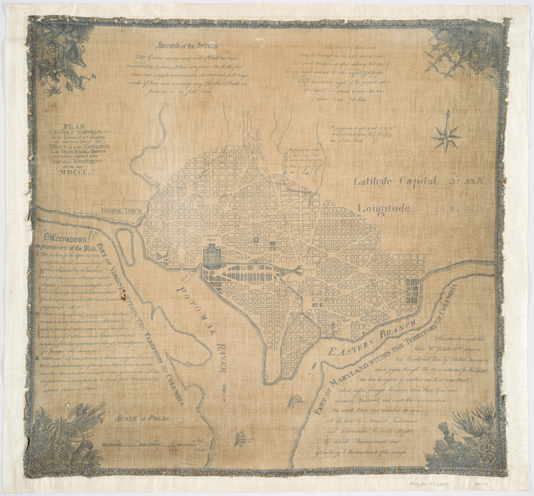 Plan of the city of Washington in the territory of Columbia : ceded by the states of Virginia and Maryland to the United States of America and by them established as the seat of their government after the year MDCCC / in order to execute this plan, Mr. Ellicott drew a true meridional line ...