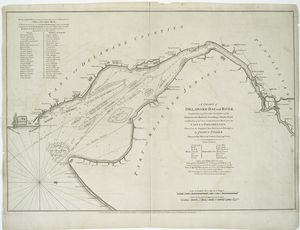 A chart of Delaware Bay and River : containing a full & exact description of the shores, creeks, harbours, soundings, shoals, sands, and bearings of the most considerable land marks, from the capes to Philadelphia / taken from the original chart published at Philadelphia by Joshua Fisher ; engraved by William Faden, Charing Cross.