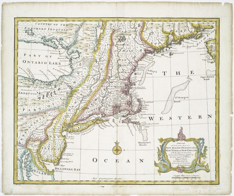 A new and accurate map of New Jersey, Pensilvania, New York and New England : with the adjacent countries / drawn from surveys, assisted by the most approved modern maps & charts and regulated by astronomical observations by Eman. Bowen.